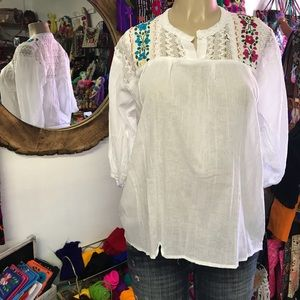 Mexican Blouse with Floral Embroidery 3/4 Sleeves